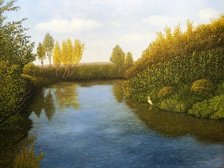 Napa River with Egret 11 x 17 Oil on canvas $675